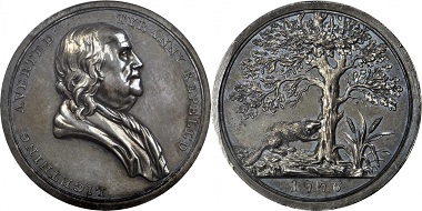 """Lot 58: Set of Sansom's """"History of the Revolution"""" Medals in Contemporary Teakwood Frame. Realized: $72,000."""