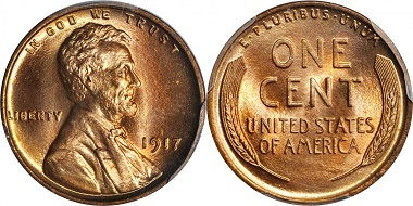 Lot 2032: 1917 Lincoln Cent. FS-101. Doubled Die Obverse. MS-67 RD (PCGS). Realized: $84,000.