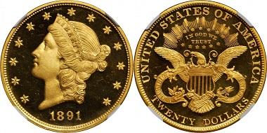 Lot 2205: 1891 Liberty Head Double Eagle. JD-1, the only known dies. Proof-66+ * Ultra Cameo (NGC). Realized: $192,000.