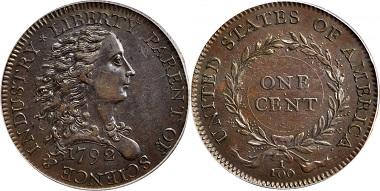 Lot 7151: 1792 Birch cent. Judd-3. AU-58 (PCGS). Realized: $660,000.