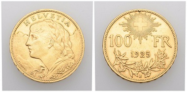 No. 19. Switzerland. Swiss Confederation. 100 francs 1925 B, Berne. Almost extremely fine. Estimate: 10,000 CHF. Starting price: 5,000 CHF.