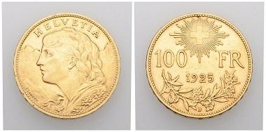 Nr. 19. Schweiz. Eidgenossenschaft. 100 Franken 1925 B, Bern. Fast vorzüglich. Taxe: 10.000 CHF. Startpreis: 5.000 CHF.