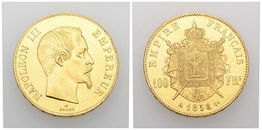 No. 82. France. Second French Empire. Napoleon III, 1852-1870. 100 francs 1858 A, Paris. Almost extremely fine. Estimate: 1,000 CHF. Starting price: 500 CHF.