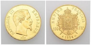 Nr. 82. Frankreich. Zweites Kaiserreich. Napoleon III., 1852-1870. 100 Francs 1858 A, Paris. Fast vorzüglich. Taxe: 1.000 CHF. Startpreis: 500 CHF.
