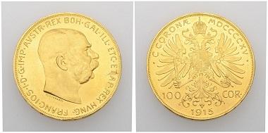 No. 267. Austria. Franz Josef I, 1848-1916. 100 korona 1915. Restrike. Uncirculated. Estimate: 1,000 CHF. Starting price: 500 CHF.