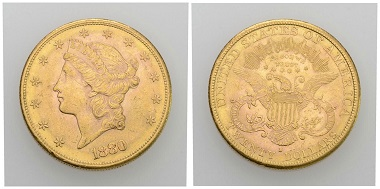 No. 329. USA. 20 dollars 1880, San Francisco. Almost extremely fine. Estimate: 1,000 CHF. Starting price: 500 CHF.