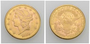 Nr. 329. USA. 20 Dollars 1880, San Francisco. Fast vorzüglich. Taxe: 1.000 CHF. Startpreis: 500 CHF.