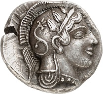 No. 16: Athens. Didrachm around 465. Starr 75 (this specimen). From the Salvesen and von Hoffmann Collection, Sotheby (1995), No. 57. Only about a dozen privately-owned specimens. The most beautiful known specimen. Extremely fine. Starting price: 150,000 CHF.