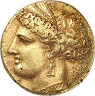 No. 25: Carthage. Electrum-tristater, ca. 260 B.C., unknown mint in Sicily. From Sternberg Auction 20 (1988), no. 508. Jenkins knows of only 16 specimens, 10 of which are part of public collections. Spectacular Greek electrum coin weighing 22.40 g. Extremely fine. Starting price: 300,000 CHF.