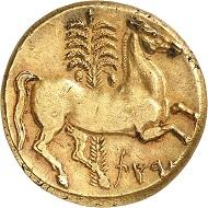 Nr. 25: Karthago. Elektron-Tristater, um 260 v. Chr., unbest. Mzst. in Sizilien. Aus Auktion Sternberg 20 (1988), Nr. 508. Jenkins kennt nur 16 Exemplare, von denen 10 in öffentlichen Sammlungen sind. Spektakuläre griechische Elektronmünze mit einem Gewicht von 22,40 g. Vorzüglich. Ausruf: 300.000,- CHF.