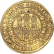 Nr. 111: Deutschland / Hamburg. 10 Dukaten oder Portugaleser, undatiert (1578-1582), Hamburg. Eine außergewöhnliche seltene Münze. Sehr schön. Ausruf: 150.000,- CHF.