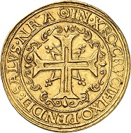 No. 111: Germany / Hamburg. 10 ducats or portugaleser, undated (1578-1582), Hamburg. An exceptional rare coin. Very fine. Starting price: 150,000 CHF.