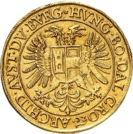 No. 129: Holy Roman Empire. Rudolph II, 1576-1612, or Mathias II, 1612-1619. 10 ducats, undated, Prague. Extremely fine. Starting price: 150,000 CHF.