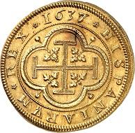 No. 179: Spain. Philipp IV, 1621-1665. 8 escudos 1637, Segovia. Extremely rare. Extremely fine. Starting price: 125,000 CHF.