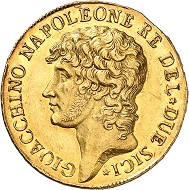 Nr. 431: Italien / Neapel. Joachim Murat, 1808-1815. 40 Franchi 1810. Laut MIR nur 18 Exemplare bekannt. Ein Monument der napoleonischen Zeit. Sehr selten. Vorzüglich. Ausruf: 125.000,- CHF.