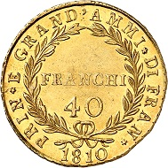 No 431: Italy / Naples. Joachim Murat, 1808-1815. 40 franchi 1810. Only 18 known specimens according to MIR. A monument of the Napoleonic era. Very rare. Extremely fine. Starting price: 125,000 CHF.