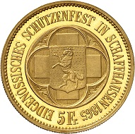 No. 546: Switzerland. Schaffhausen. 5 Francs 1865, off-metal strike in gold. Only two specimens! The most beautiful of the two. FDC. Starting price: 150,000 CHF.