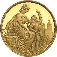 Nr. 546: Schweiz. Schaffhausen. Goldabschlag zu 5 Franken 1865, Bern. Nur zwei Exemplare! Das schönere der beiden. FDC. Ausruf: 150.000,- CHF.