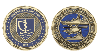 A training course of medical officers had this Coin minted in 2017. In a certain light, the coloring on the Coin's reverse resembles the ocean's waves. The Coin also features Navy ships, a helicopter, as well as a humorously modified quote of Pompeius. The obverse shows an emblem which is similar to the official Medical Corps one. Photo: DerTaler.de.