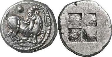 Aigai oder makedonischer Stamm der Mygdones oder Krestones. Ziegenbock n. r. Rv. Quadratum Incusum. Aus Giessener Münzhandlung 146 (2006), 155.