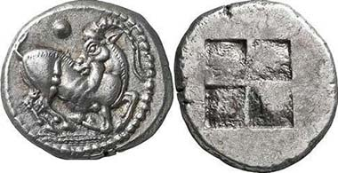 Aigai or Macedonian tribe of Mygdones or Krestones. He-goat r. Rev. Quadratum incusum. From Giessener Münzhandlung 146 (2006), 155.