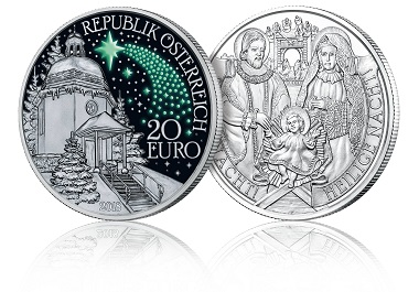 Stille Nacht Münze in Silber, die im Dunkeln nachleuchtet. Foto: Münze Österreich.