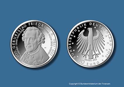Die neue Münze mit dem Porträt Friedrichs II. von Johann Georg Ziesenis. Copyright Bundesministerium der Finanzen.