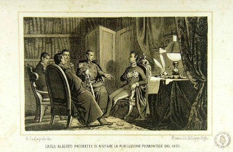Carlo Alberto promises the insurgents of 1821 his support. Fictional copperplate print made between 1850 and 1875.