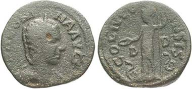 Dium (Makedonien). Salonina. Rv. Athena im langen Gewand zwischen zwei Schlangen n. l. Aus Auktion Münzen und Medaillen GmbH 13 (2003), 83.
