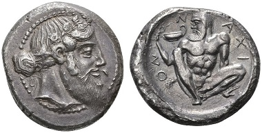 Naxos. Tetradrachm, around 461-460. Extremely fine. Estimate: 100,000,- CHF. Price realized: 145,000,- CHF. From Hess Divo AG Auction 329 (2015), no. 20.