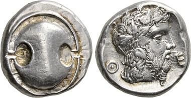 Thebes. Stater, around 440-380. Extremely fine. Estimate: 1,000,- CHF. Price realized: 2,400,- CHF. From Hess Divo AG Auction 332 (2017), no. 37.