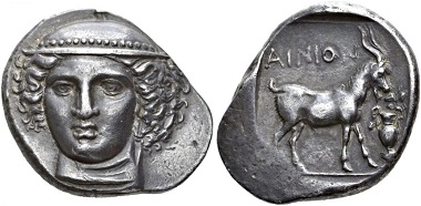 Ainos. Tetradrachm, around 400-370. Extremely fine. Estimate: 50,000,- CHF. From Hess Divo AG Auction 35 (2018), no. 23.