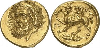 Dieser Goldstater aus Pantikapaion dürfte mit 3,25 Millionen US-Dollar die teuerste Münze der griechischen Welt sein.