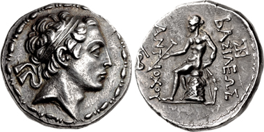 Antiochos IV. Epiphanes. Tetradrachme, Antiochia in Persis, 175-164. Aus Auktion CNG 109 (2018), 189.