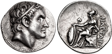 Philetairos of Pergamon. Tetradrachm, Pergamon mint, 269/8-263. On the obverse a portrait of Seleukos I Nikator. From sale CNG 109 (2018), 214.