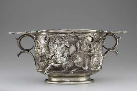 Cup with Centaurs and Cupids. Roman, 1-100 CE. Inscription: MERCVRIO AVGVSTO Q DOMITIVS TVTVS EX VOTO (To Augustan Mercury, Quintus Domitius Tutus in fulfillment of a vow). Findspot: Berthouville, France. Silver and gold. H. 11.7 cm; D. 18.5 cm; Diam. (of rim) 15 cm. Bibliothèque nationale de France, Paris: inv. 56.6. Image: Tahnee Cracchiola © Getty-BnF.