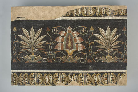 Mosaic with Lotuses and Palmettes. Roman, 125-133 CE. Find-spot: Hadrian's Villa, Tivoli, Italy. Stone and glass. H. 22.5 cm; L. 32.5 cm. Bibliothèque nationale de France, Paris: inv. 57.261. Image © BnF.