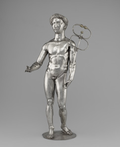 Statuette of Mercury. Roman, 175-225 CE. Find-spot: Berthouville, France. Silver and gold. H. 56.3 cm; Diam. 16 cm. Bibliothèque nationale de France, Paris: Inv. 56.1. Photo: Tahnee Cracchiola © Getty-BnF.