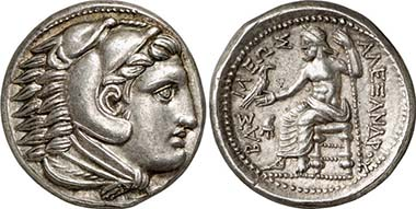Alexander III. Tetradrachm, Amphipolis, 323-317. Head of Herakles. Rev. Zeus sitting l. Price 112. From auction LHS 102 (2008), 142.