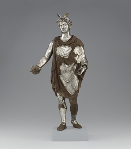 Statuette of Mercury with wax support. Roman, 100-225 CE. Find-spot: Berthouville, France. Silver and gold; mounted on a nineteenth-century wax support. H. 40.5 cm; W. 17.3 cm; D. 12.5 cm. Bibliothèque nationale de France, Paris: inv. 56.2. Photo: Tahnee Cracchiola © Getty-BnF.
