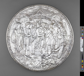 Plate with the Embassy to Achilles (The Shield of Scipio). Roman, 375-400 CE. Find-spot: In the Rhône, near Avignon, France. Silver and gold, diam. 71 cm. Bibliothèque nationale de France, Paris: Inv. 56.344. Photo: © BnF.