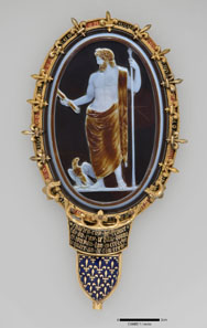 Cameo of Jupiter (The Cameo of Chartres) Set in Fourteenth-Century Mount. Roman, ca. 50 CE. Rome, mounted in Paris. Sardonyx; gold and enamel mount. H. 15.2 cm; L. 6.5 cm. Bibliothèque nationale de France, Paris: Camée.1. Photo: © Bnf.