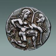 Thasos, Stater, ca. 500-480 v. Chr. SNG Tüb. 939. Foto: Thomas Zachmann, Universität Tübingen.