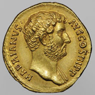 Aureus issued for Sabina, Wife of Hadrian: (obverse) Bust of Hadrian; (reverse) Seated Concordia Holding a Libation Bowl. 129-37 CE. Minted in Rome, RIC III Hadrian 933B. Gold. Bibliothèque nationale de France, Paris: Beistegui 85. Image © BnF.