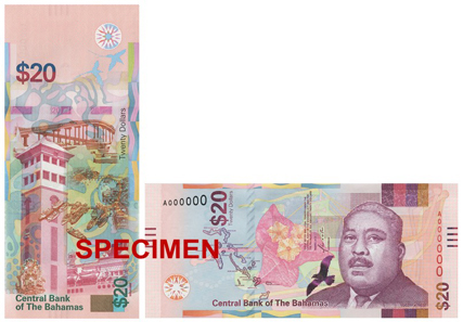 The new 20 Dollar banknote features the first Bahamian Governor-General, Sir Milo B. Butler. Photo: Central Bank of the Bahamas.