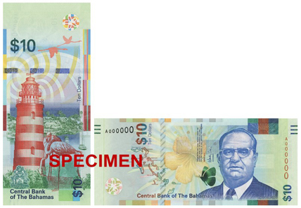 The new 10 Dollar banknote depicts Sir Stafford Sands. Photo: Central Bank of the Bahamas.