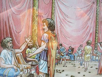 Rekonstruktion des Festes vor dem Aufbruch Alexanders III. Foto: KW.