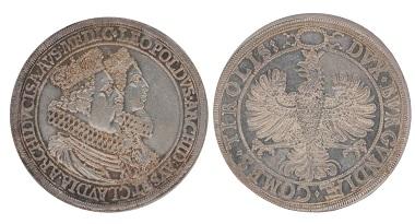 Doppeltaler Vermählungsmünze Leopold V. Claudia de Medici Hall o.J. Foto: Geldmuseum OeNB.