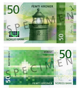 The new 50 Kroner banknote features the Utvaer fyr lighthouse. Photo: Norges Bank.