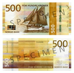 "The 500 Kroner note depicts the life boat RS 14 ""Stavanger"". Photo: Norges Bank."